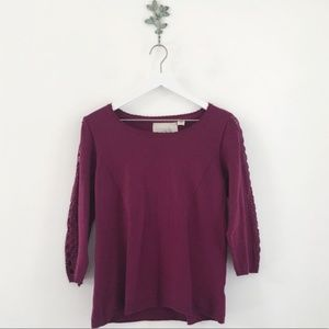 Anthro. Angel of the North Lace Sleeve Sweater L